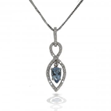 Aquamarine & Diamond Pendant